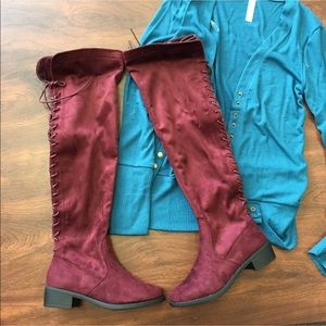 Over the knee suede burgundy winter autumn boots